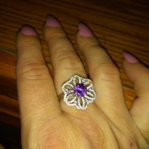 One of a kind sterling silver flower ring